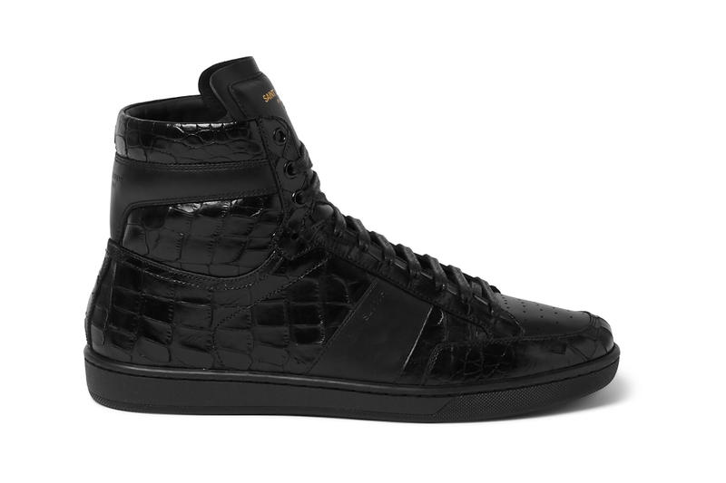 021afabe36fd Saint Laurent Patent Croc-Effect Leather High-Tops. Crafted in Italy in a  deadly black colorway.