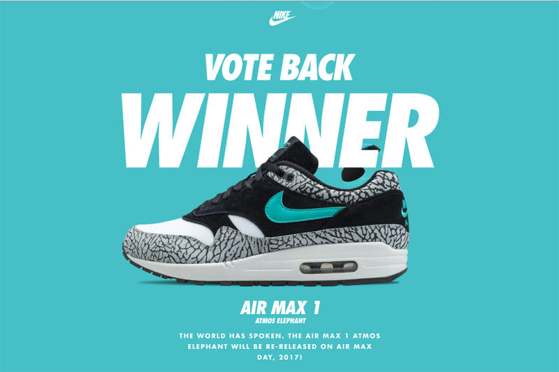 6e88df5d63 atmos x Nike Air Max 1 Elephant Wins Vote Back | HYPEBEAST