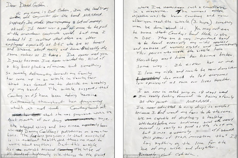 Kurt Cobains Angry Letter From 1992 | HYPEBEAST