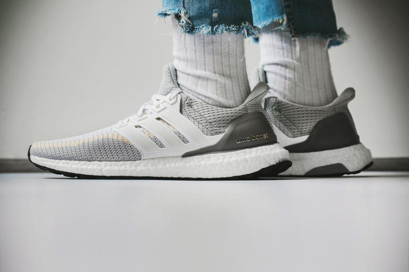 0b45b0a10d64b adidas Ultra Boost White and Gray Sneaker