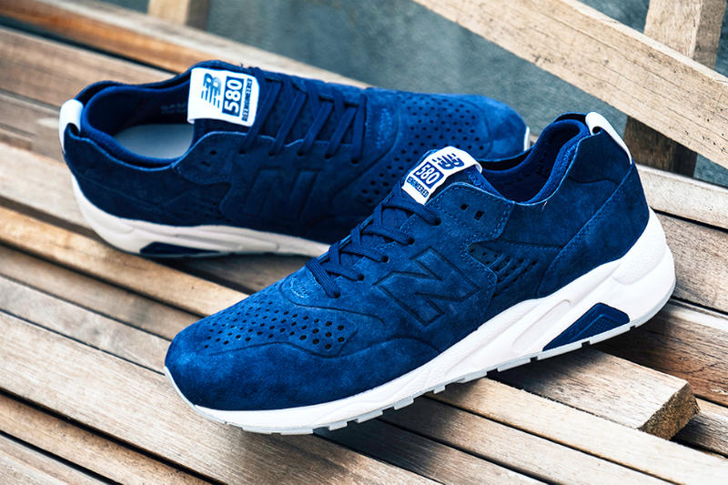 big sale 820aa d958a New Balance Deconstructed 580 in Navy Suede and White ...