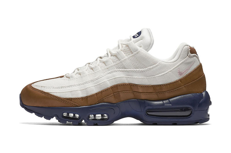 grand choix de 32057 ed837 Nike Air Max 95 in White Canvas & Brown Leather With a Navy ...