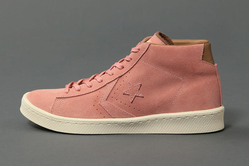 29c028a32432 Smooth pink suede decorates the 40-year-old high-top.