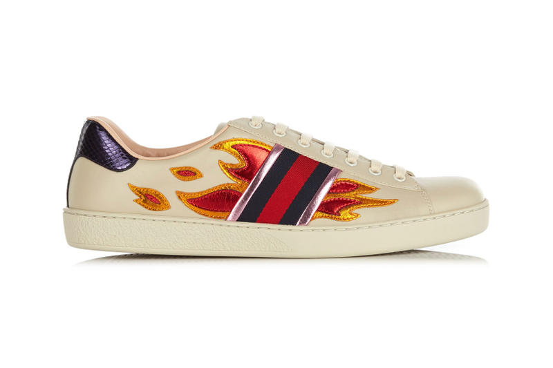 afa9e795ff3 Gucci Metallic Flame Low Top Trainers