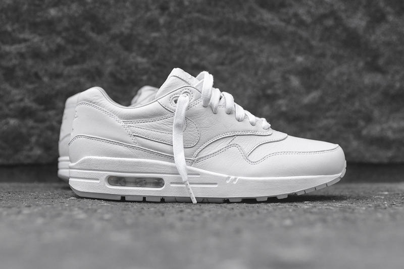 new product be73c 65eae ... Air Max 1. Premium leather meets black and white hues and translucent  rubber outsoles.