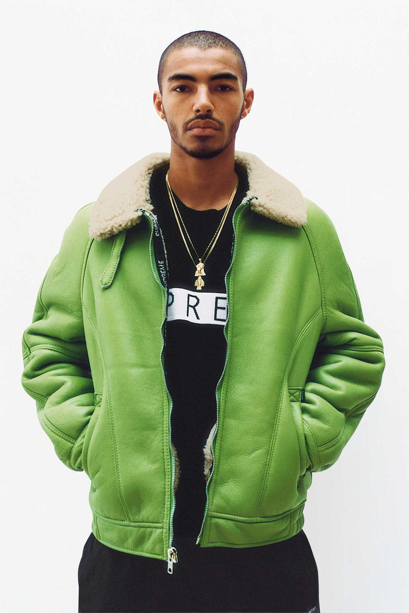 Supreme Lime Green Shearling Jacket