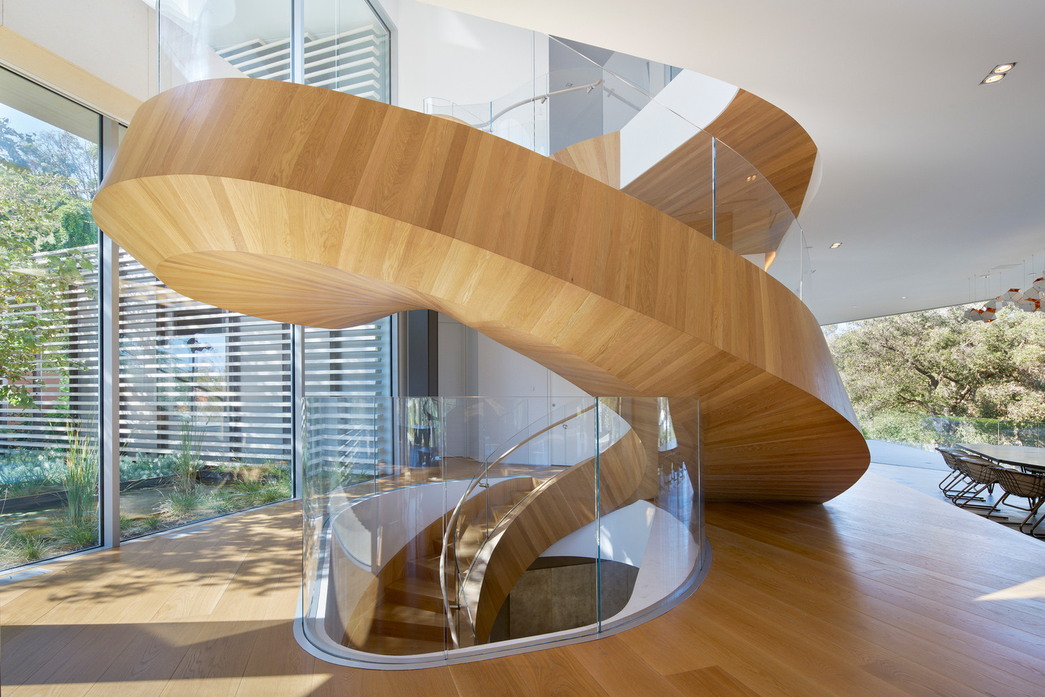 Tree Top Los Angeles Home Helical Spiral Staircase