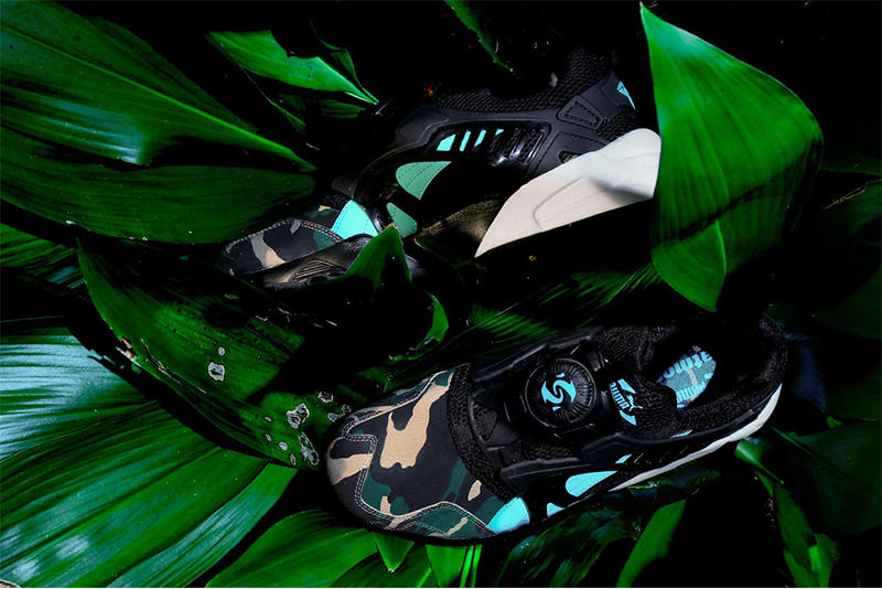 Atmos PUMA Disc Blaze Night Jungle black camo emerald green
