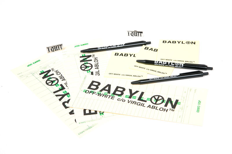 "Babylon LA x OFF WHITE ""I Quit"" Collaboration black white t-shirts hat pin stickers pens notepad pop-up tokyo"