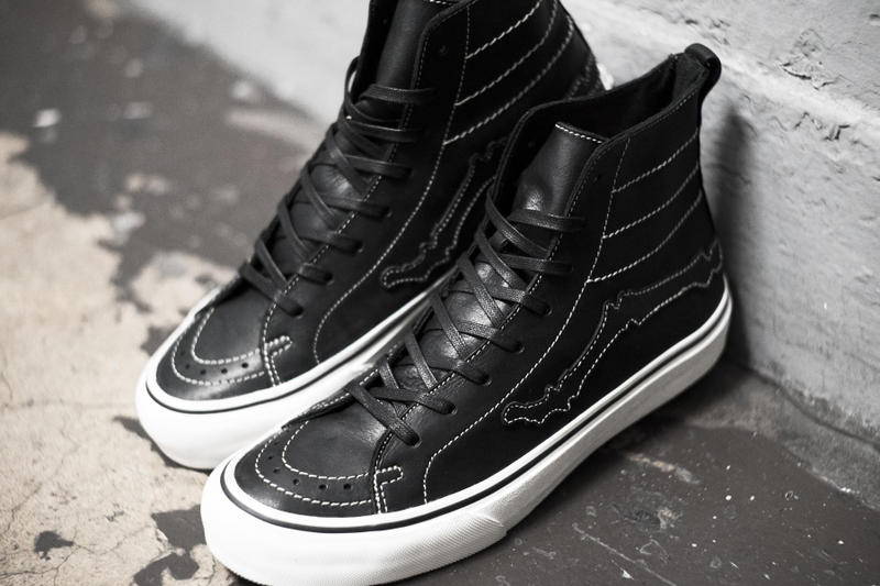 Blends x Vault by Vans Sk8 Hi Decon LX Bones black white stitching white midsole leather Jazz Stripe