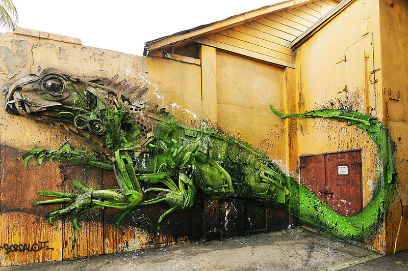 Bordalo II Animal Trash Sculptures foxes Portuguese artist globe world art spray paint waste