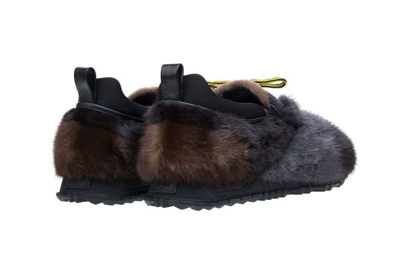 Fendi Fur Sneakers 2016 FW grey black yellow laces