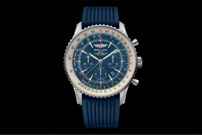 Introducing the Limited Edition Breitling Navitimer GMT Aurora Blue 1,000 pieces rubber band