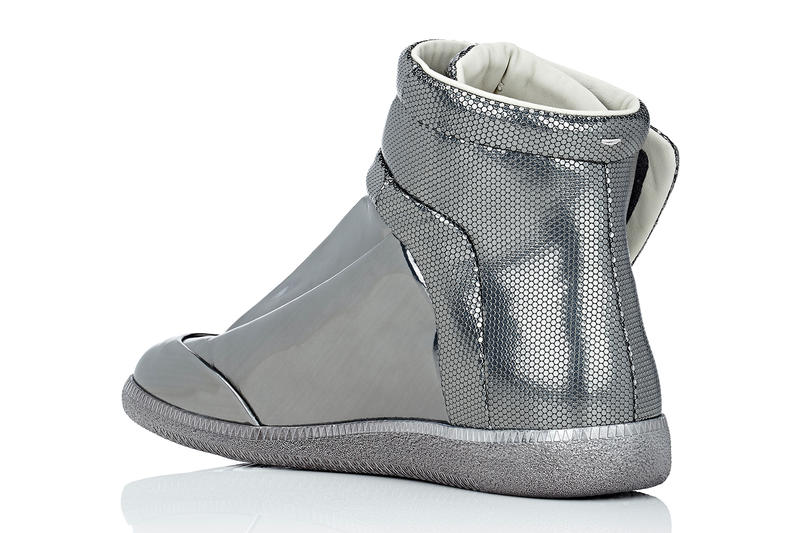 Maison Margiela Barneys Future Ankle Strap High Top Sneakers silver metallic