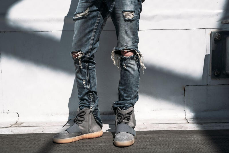 mnml destroyed bleached ankle zip jeans