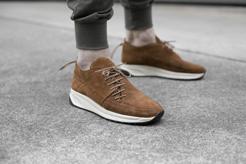 NDG Native Runs 2016 Footwear Collection olive brown sand suede moccasin hand stitched