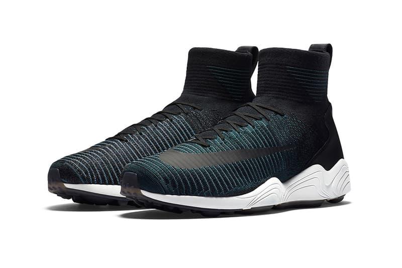 Nike Mercurial Flyknit IX Seaweed tonal teal Nike Zoom Spiridon white midsole black swoosh
