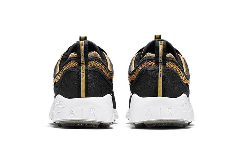 "The Nike Zoom Spiridon ""Metallic Gold"" Receives a Release Date  metallic gold Nike Swoosh white midsole black nikelab"