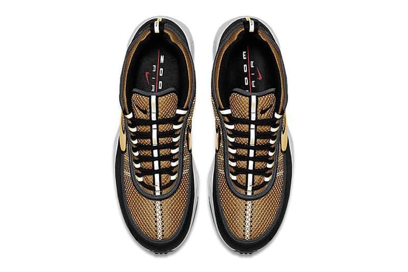 "The Nike Zoom Spiridon ""Metallic Gold"" Receives a Release Date  metallic gold Nike Swoosh white midsole black nikelab"