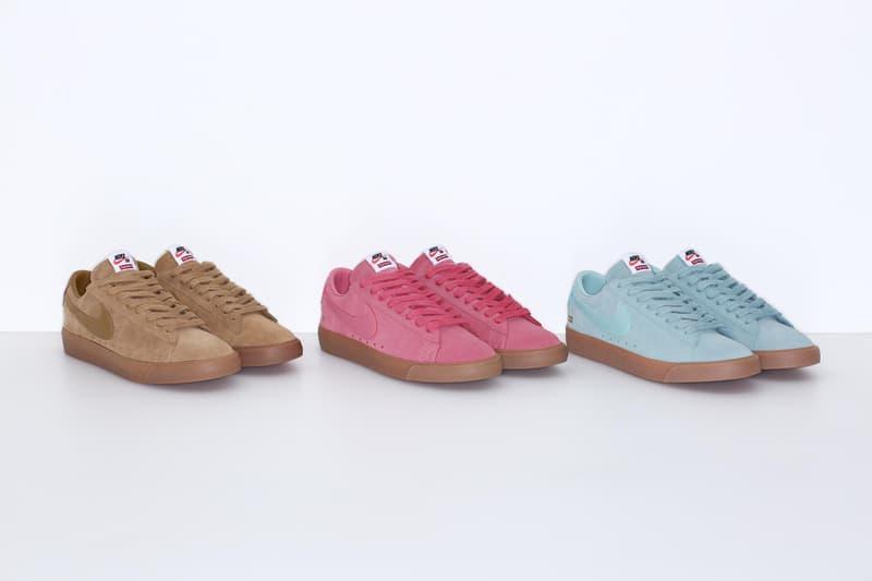 Supreme Nike SB Blazer Low GT pink brown teal gold sneakers
