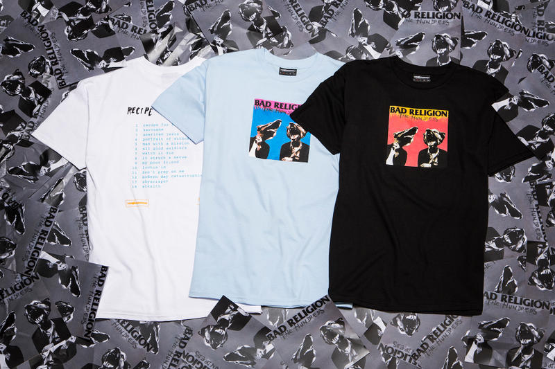 The Hundreds x Epitaph Records Collection 2016 tshirts music Bad Religion Recipe for Hate Refused The Shape of Punk to Come Pennywise Unknown Road Descendents Everything Sucks pink white black blue