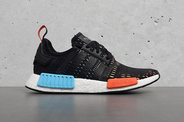 ce7db74e74138 adidas NMD R1 Rainbow Foot Locker Exclusive Originals Sneakers Black white  red blue three stripes