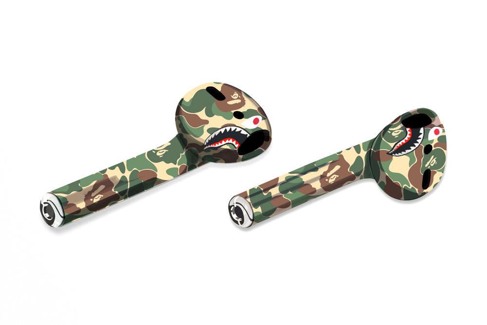 Apple Wireless AirPods Get the Streetwear Makeover Concepts BAPE A Bathing Ape OFF-WHITE Palace Skateboards Billionaire Boys Club Supreme headphones