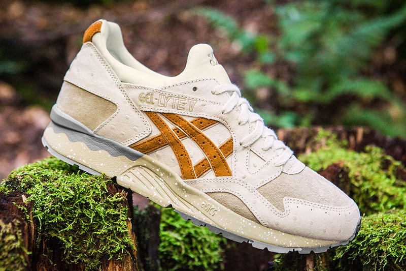 ASICS GEL-Lyte V Tartufo Pack Sneakers Shoes Mushrooms off white tan black brown earth Truffles Ostrich leather brushed suede