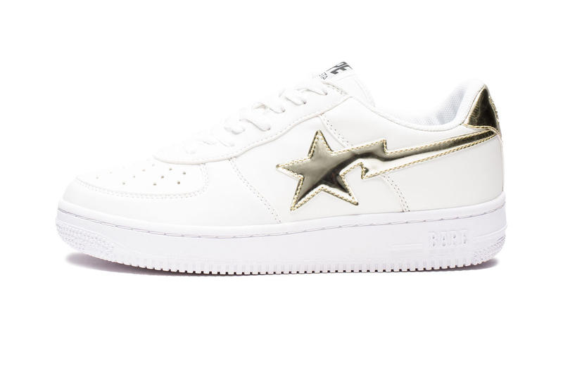 BAPE BAPE STA White Leather Metallic Gold Silver Foil