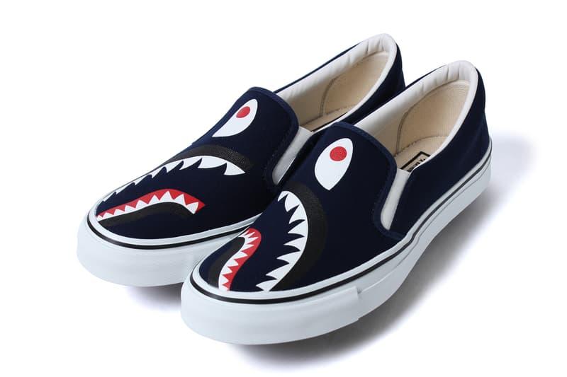 BAPE Shark Slip Ons and 1st Camo Shark Yank Sta red black navy canvas