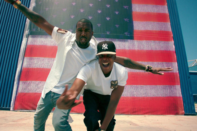 Jay Z kanye west friends watch the throne 2 otis american flag rap hip hop