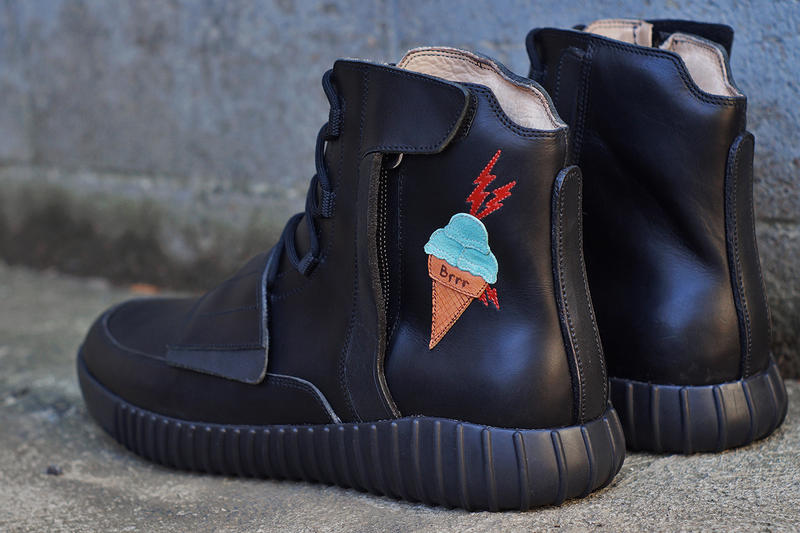 JBF Customs Yeezy BOOST 750 Ice Cream Decor Gucci Mane Black Leather Water Resistance Veg Tanned Leather Mint Suede