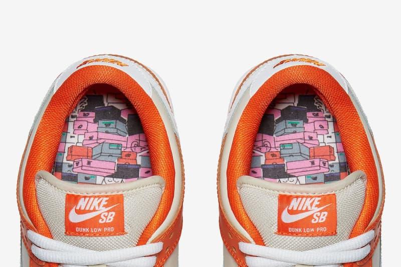 Nike SB Dunk Low Premium Orange Box Closer Look Old School Orange white colorway skateboarding white swoosh shoebox emboss