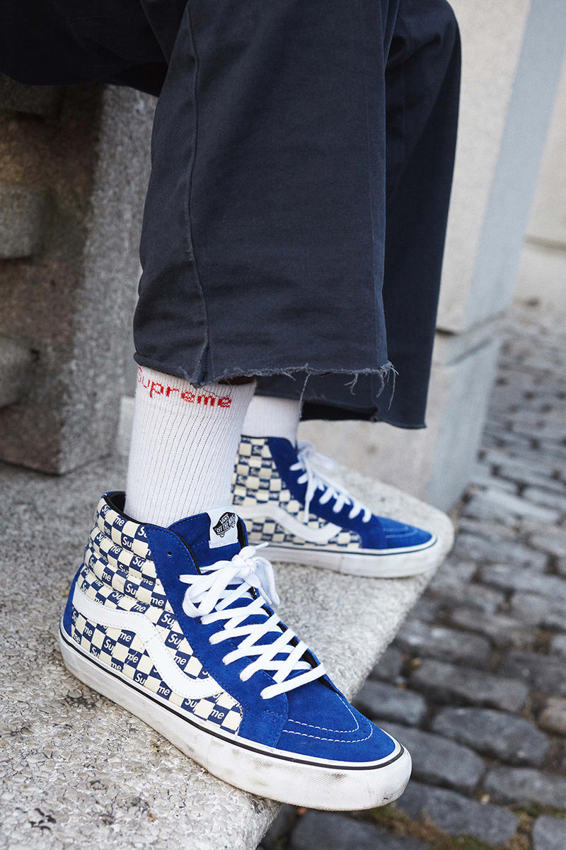 3fd5696397 Sk8-His and Authentics with signature checkerboard prints. Supreme Vans  2016 Sk8-Hi Pro Authentic blue black red suede canvas Fall winter Collection