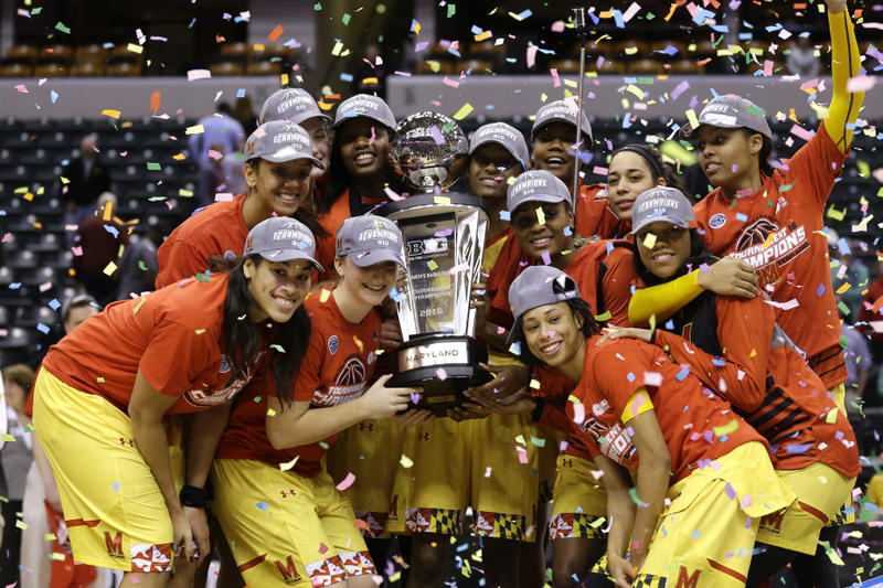 Maryland Womens Basketball Big Ten Champions 2016 Win 129 Points Bluefield State 100 points defeat