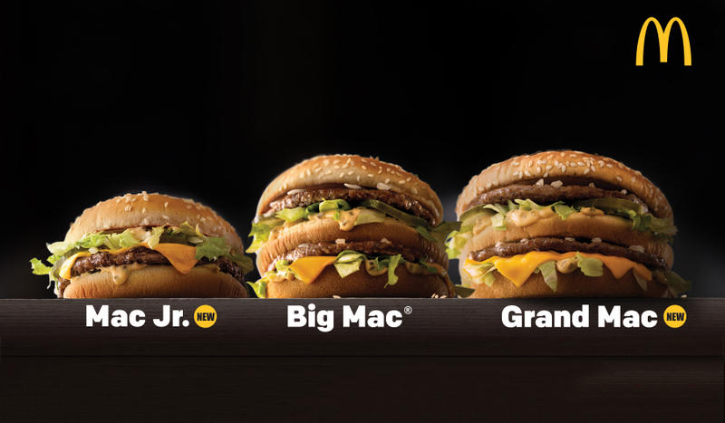 McDonalds Grand Mac Mac Jr Big Mac