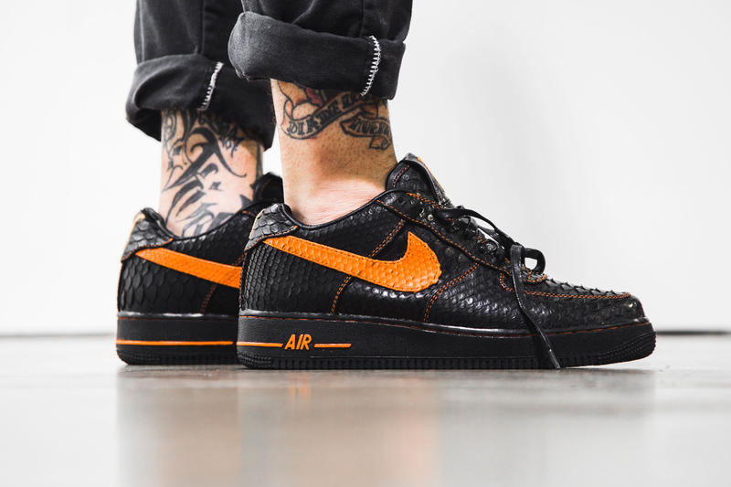 promo code 8c544 ba1de The Shoe Surgeon Python VLONE x Air Force 1 black orange