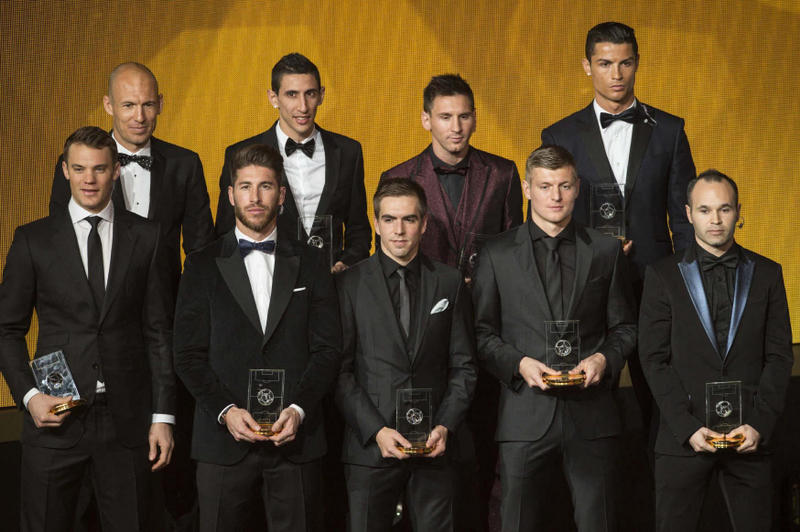 UEFA Reveal 40-Man Team of the Year 2016 Shortlist Football Soccer Lionel Messi Cristiano Ronaldo