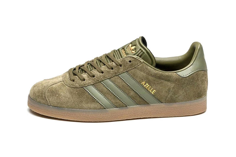adidas Gazelle in Olive Cargo with Gum Sole   HYPEBEAST 21c15ee65d38