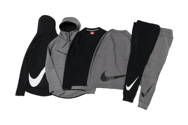 Nike Tech Fleece Big Swoosh Check Black Grey