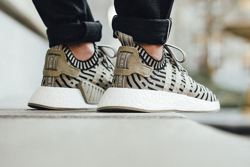 On Feet adidas NMD R2 Black Olive Green  cf59fddb4