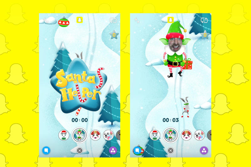 Snapchat sponsored selfie lenses filter santa's helper games