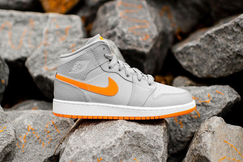 #hypebeastkids BG Air Jordan 1 Mid Bright Citrus Sneaker Boys basketball shoe