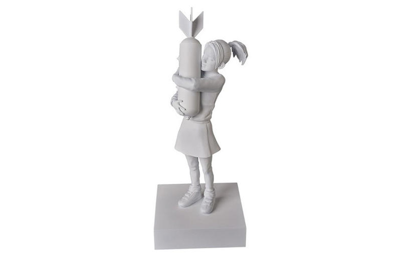 "Banksy's ""Bomb Hugger"" Graffiti Print Transformed Into a Figurine"
