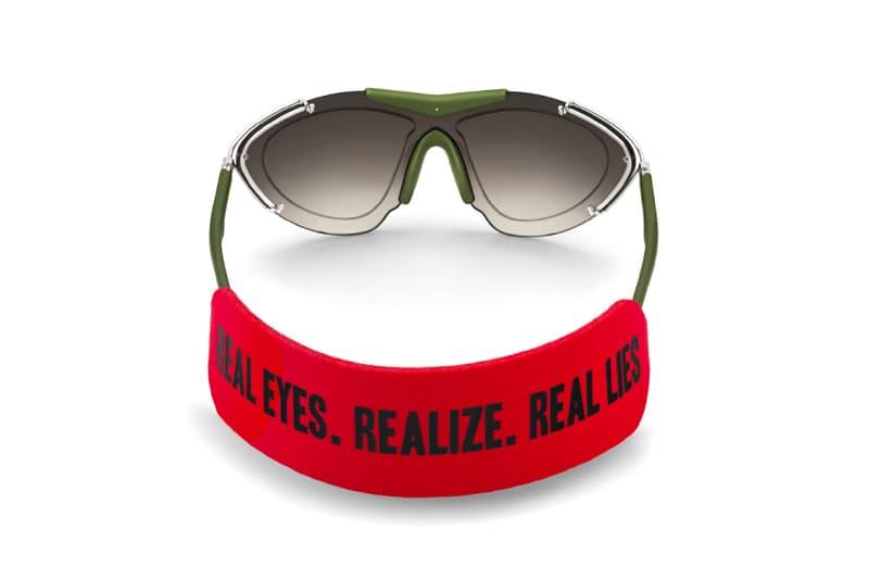 "Givenchy Men's Spring/Summer 2017 visor sunglasses ""REAL EYES. REALIZE. REAL LIES."""
