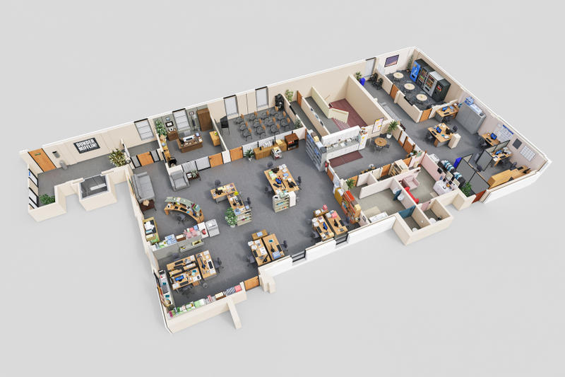 Drawbotics 3D Floor Plans The Office Mad Men Silicon Valley Parks and Rec