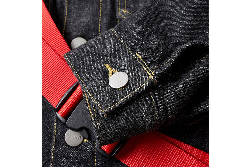 GANRYU Nylon Adjustable Strap Selvedge Denim Jacket Red Blue