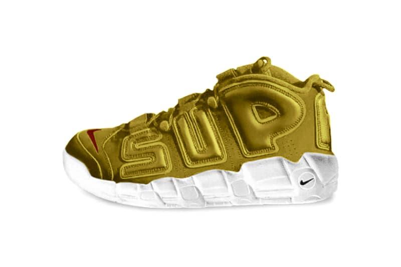 "Neymar Jr. Debuts ""Gold"" Supreme x Nike Air More Uptempos Football Soccer Barcelona Sneakers"