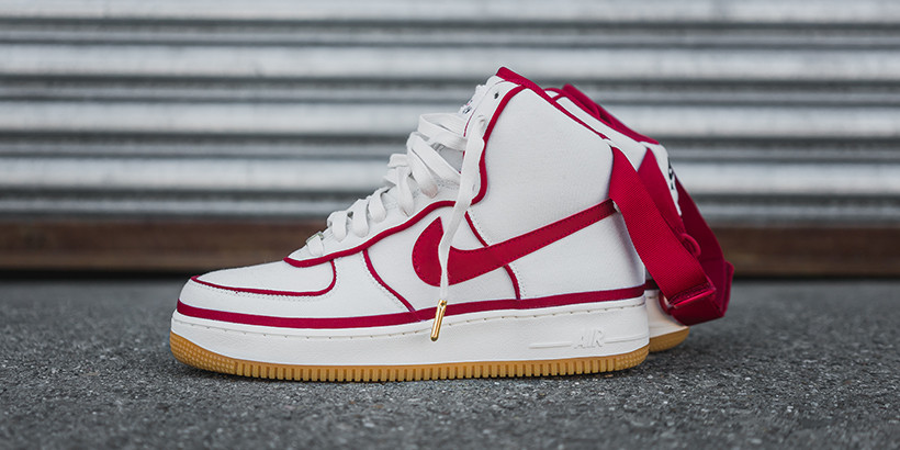 Nike Air Force 1 High 07 Lv8 In Sail Gym Red Black Hypebeast