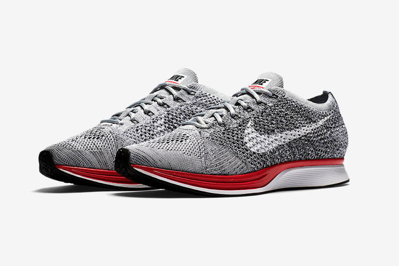 "Nike Flyknit Racer ""No Parking"" Release Date Swoosh Wolf Grey Red Colorway"